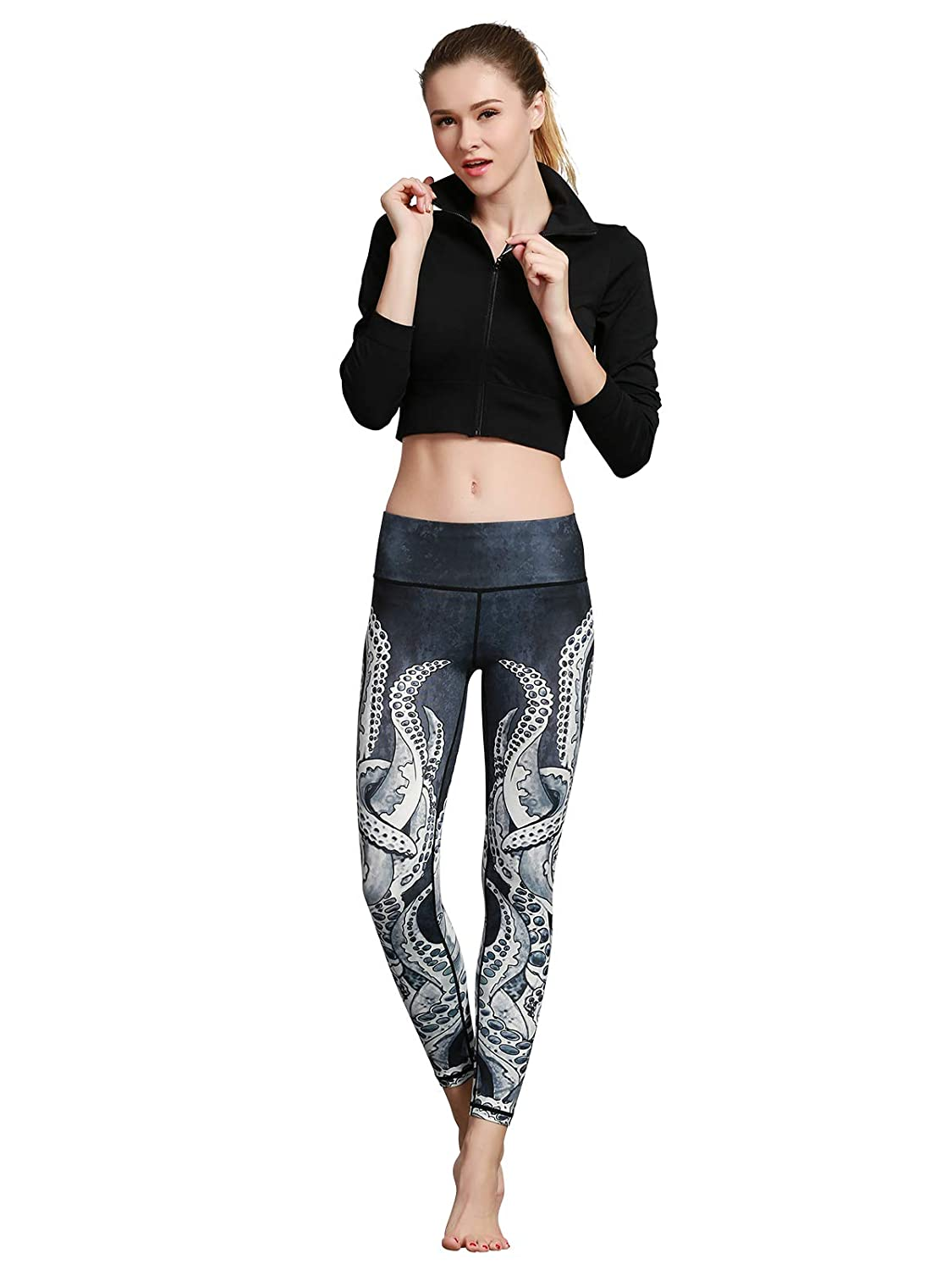 Q Octopus FINEMORE Women Printed Yoga Pants Stretchy Pilates Workout Sport Yoga Leggings