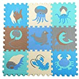 Julvie Floor Mat 9 Tiles Interlocking EVA Foam Puzzle Play Mat with Removable Sea Animals Kids Safety
