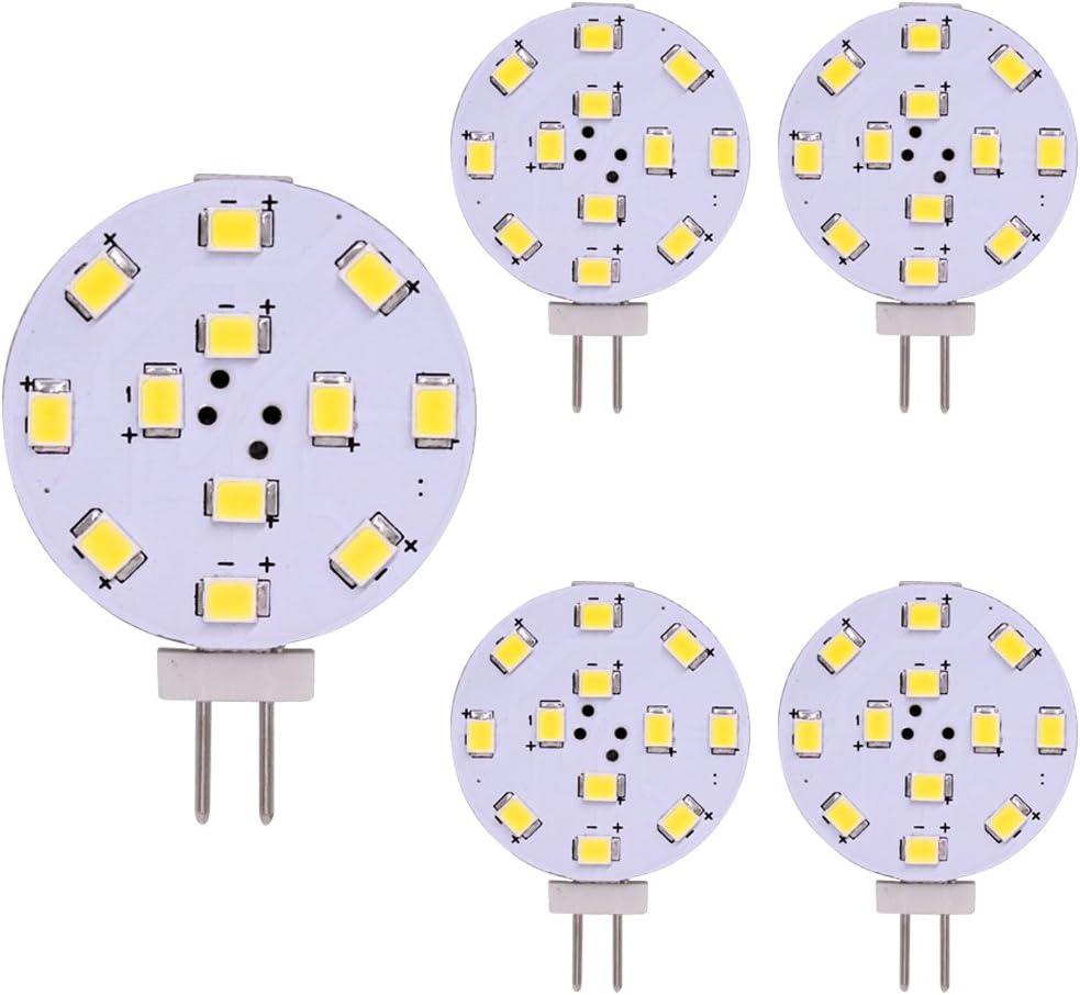 Bombilla LED G4, Equivalente de 35 vatios, Disco LED Bi-Pin, Pasador lateral JC, 12V-24V AC / DC de bajo voltaje, CRI> 85, 350 lúmenes, WeiXuan, Paquete 5 (Blanco)