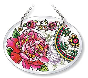 Amia 42003 Beveled Glass Oval Suncatcher With Peony Floral Design, 4-3/4 By 3-1/2-inch