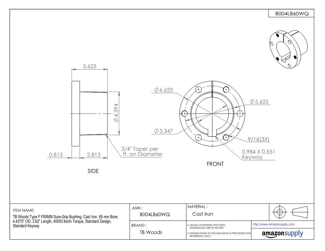 40000 lbs//in Torque 85 mm Bore Standard Keyway 4.4375 OD Cast Iron 3.62 Length TB Woods Type F F85MM Sure-Grip Bushing Standard Design