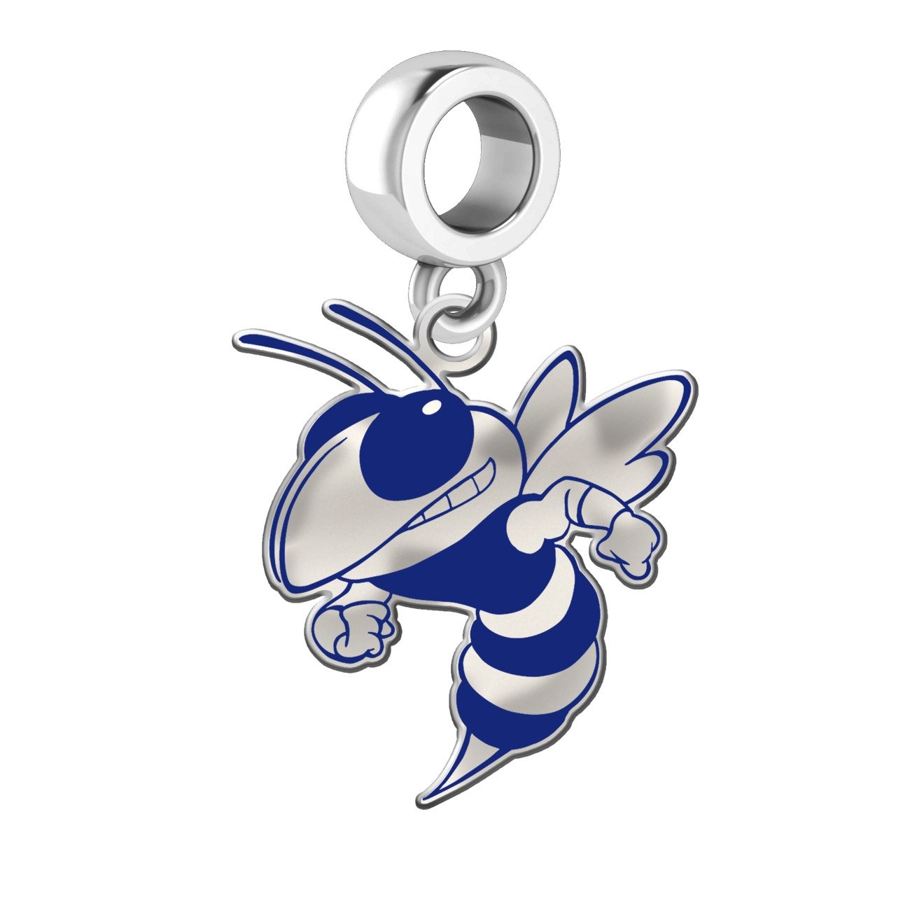 Georgia Technology Yellow Jackets Silver Logo and School Color 1/2'' Dangle Charm Fits All European Style Charm Bracelets