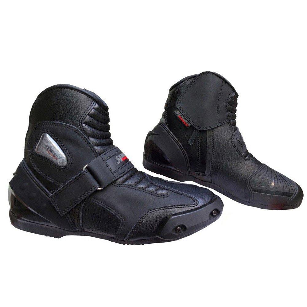 EU 45 Chaussures de sport en cuir v/éritable High Tech pour homme pour moto Racing Bottes courtes  noir Noir  UK 11