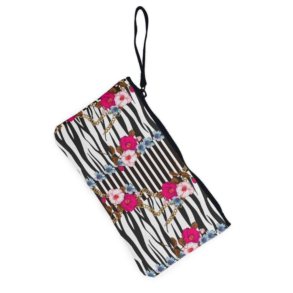 Leopard Flowers Pattern Canvas Coin Purse Small Cute Change Cash Bag with Zip