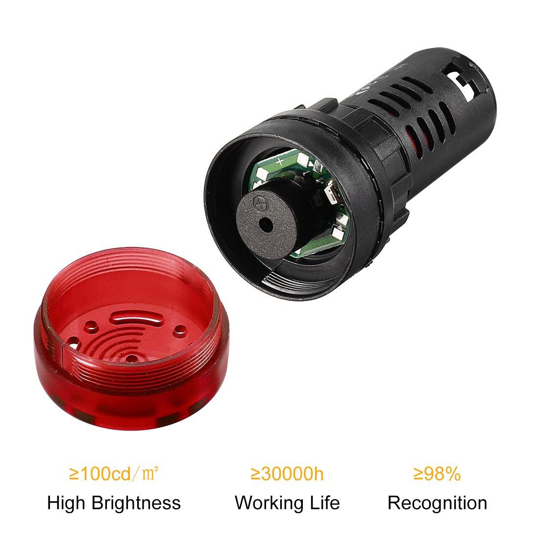 sourcing map 3pcs Pilot Light AC//DC 12V Panel Indicador de alarma intermitente con zumbador LED rojo