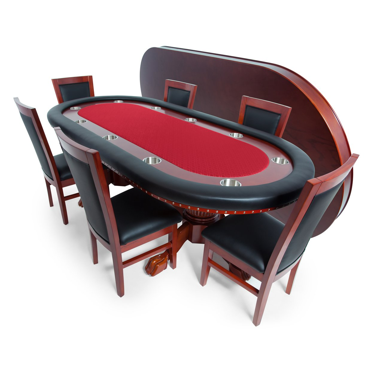 BBO Poker Rockwell Poker Table for 10 Players with Red Speed Cloth Playing Surface, 94 x 44-Inch Oval, Includes Matching Dining Top with 6 Dining Chairs by BBO Poker