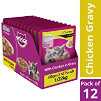 Whiskas Kitten Wet Cat Food, Chicken in Gravy – 85 g (12 Pouches)