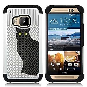 """Pulsar ( Gato del lunar Trippy Eyes Pattern"""" ) HTC One M9 /M9s / One Hima híbrida Heavy Duty Impact pesado deber de protección a los choques caso Carcasa de parachoques [Ne"""