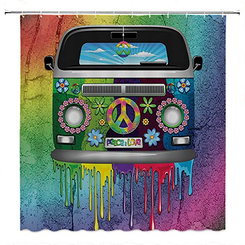 - SATVSHOP Shower-Curtain-with-Hooks-for-Bathroom-Showers,-Stalls-and-Bathtubs-Groovy-Old-Style-Hippie-Van-with-Dripping-ainbow-Paint-Mid-60s-Youth-evolution-Movement-Theme-Multi-Color.W54-x-L72-inch