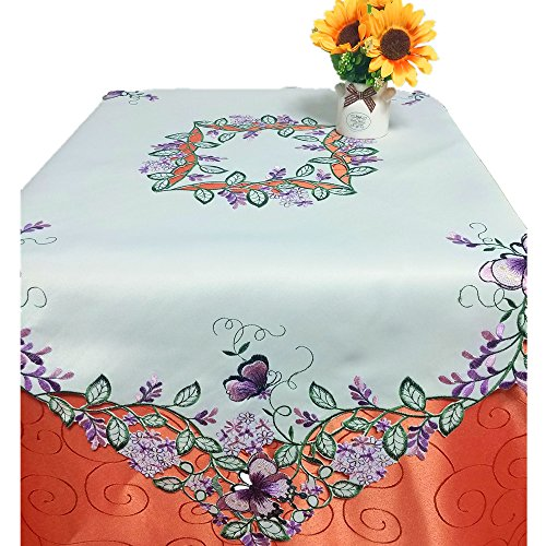 Amazing Home Fashions AHF Embroidered Cutwork Purple Butterflies & Lavenders Tablecloth Floral Table Linens 33x33 Inch Square, Thanksgiving Day Party Table -