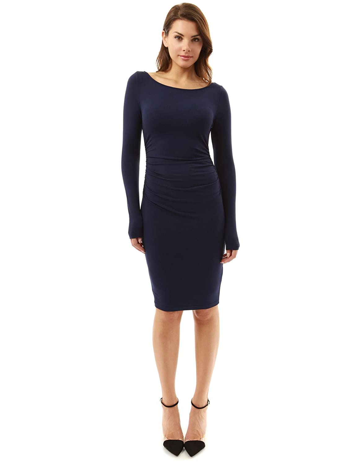 PattyBoutik Women's Boat Neck Long Sleeve Ruched Dress
