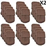 Furniture Feet Best Deals - Allure Maek 48pcs Knitting Wool Furniture Socks/ Chair Leg Floor Protector (Brown Color)