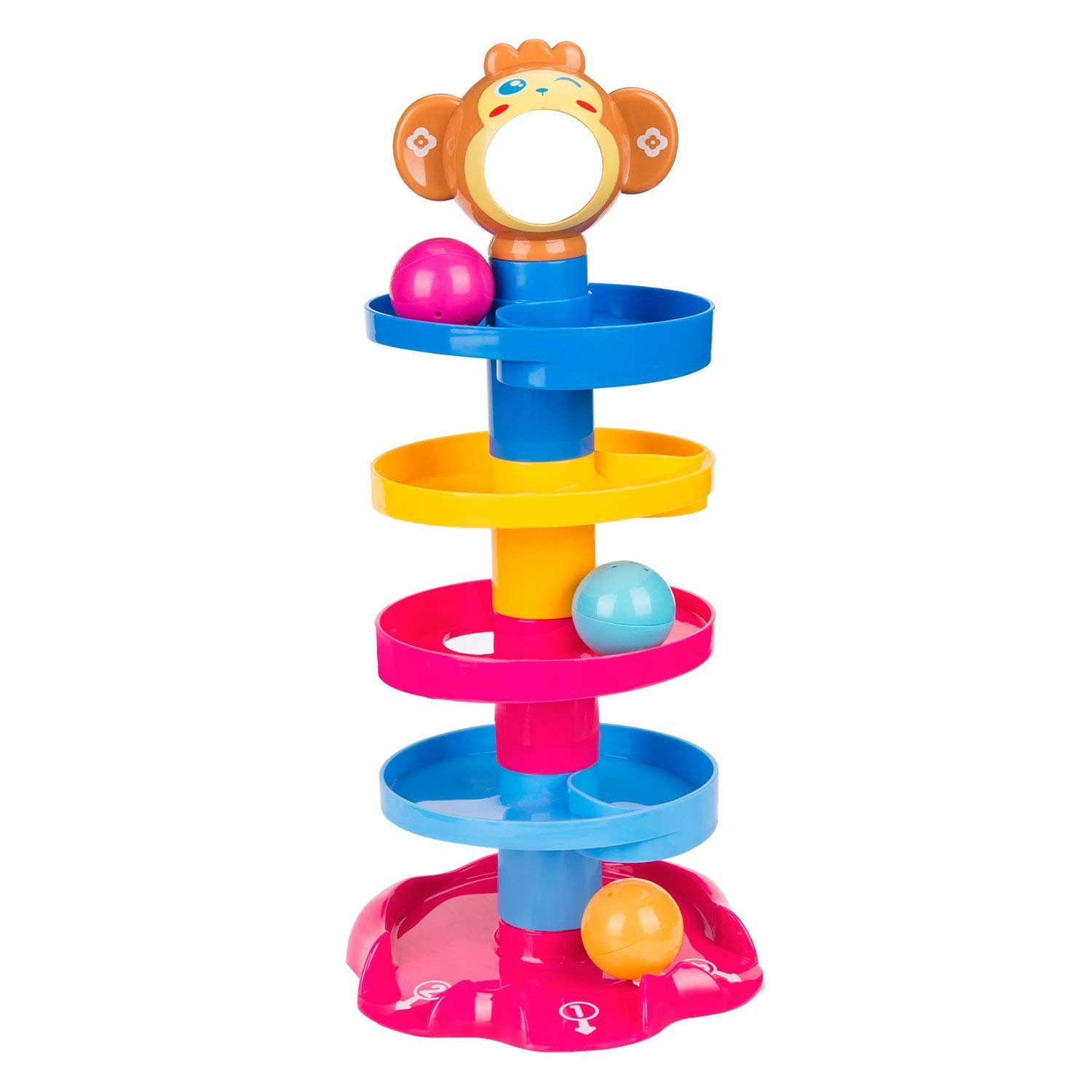 Elover Ball Drop Toys, Swirl Ball Ramp 5 Layer Tower Run includes 3 Colorful Balls with Bells Toy Set for Kids Toddlers Gifts