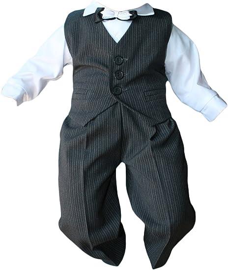 Taufanzug Baby Junge Kinder Kind Taufe Anzug Hochzeit Anzüge Festanzug 4tlg Grau Weiß