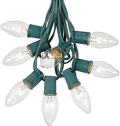 C9 Clear Christmas String Light Set – Outdoor Christmas Light String – Christmas Tree Lights – Hanging Christmas Lights – Roofline Light String – Outdoor Patio String Lights – Green Wire – 100 Foot