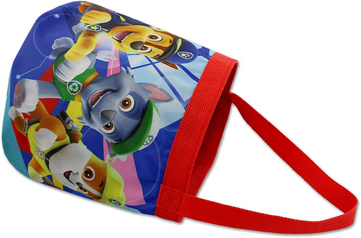 Paw Patrol Boys Girls Collapsible Nylon Gift Basket Bucket Toy Storage Tote Bag One Size, Blue//Red