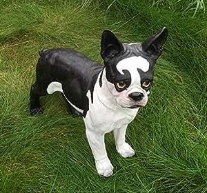 Bulldog de pie figura perro figura decorativa Negro de color blanco