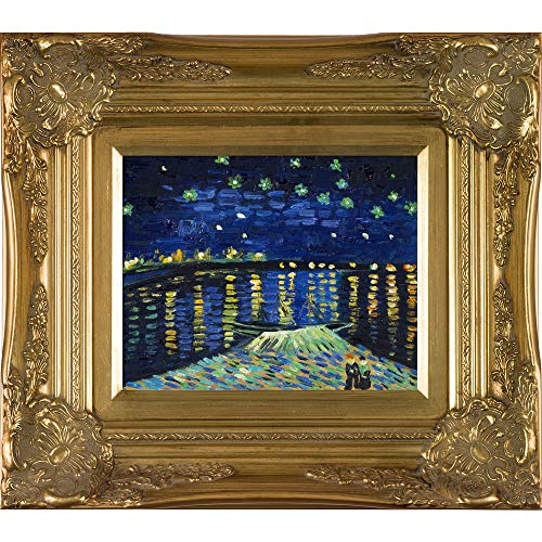 overstockArt Van Gogh Starry Night Over The Rhone Painting with Victorian Gold Frame, Gold Finish