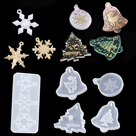 XMAS Mould Resin Mold  Craft Jewelry Epoxy Christmas Silicone Tag Casting Tool