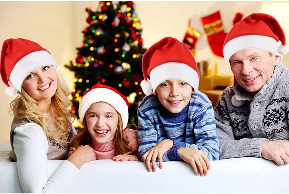 Classic Red Xmas Holiday Hats for Party Costume QBSM 10 Pack Bulk Christmas Santa Hats for Adults