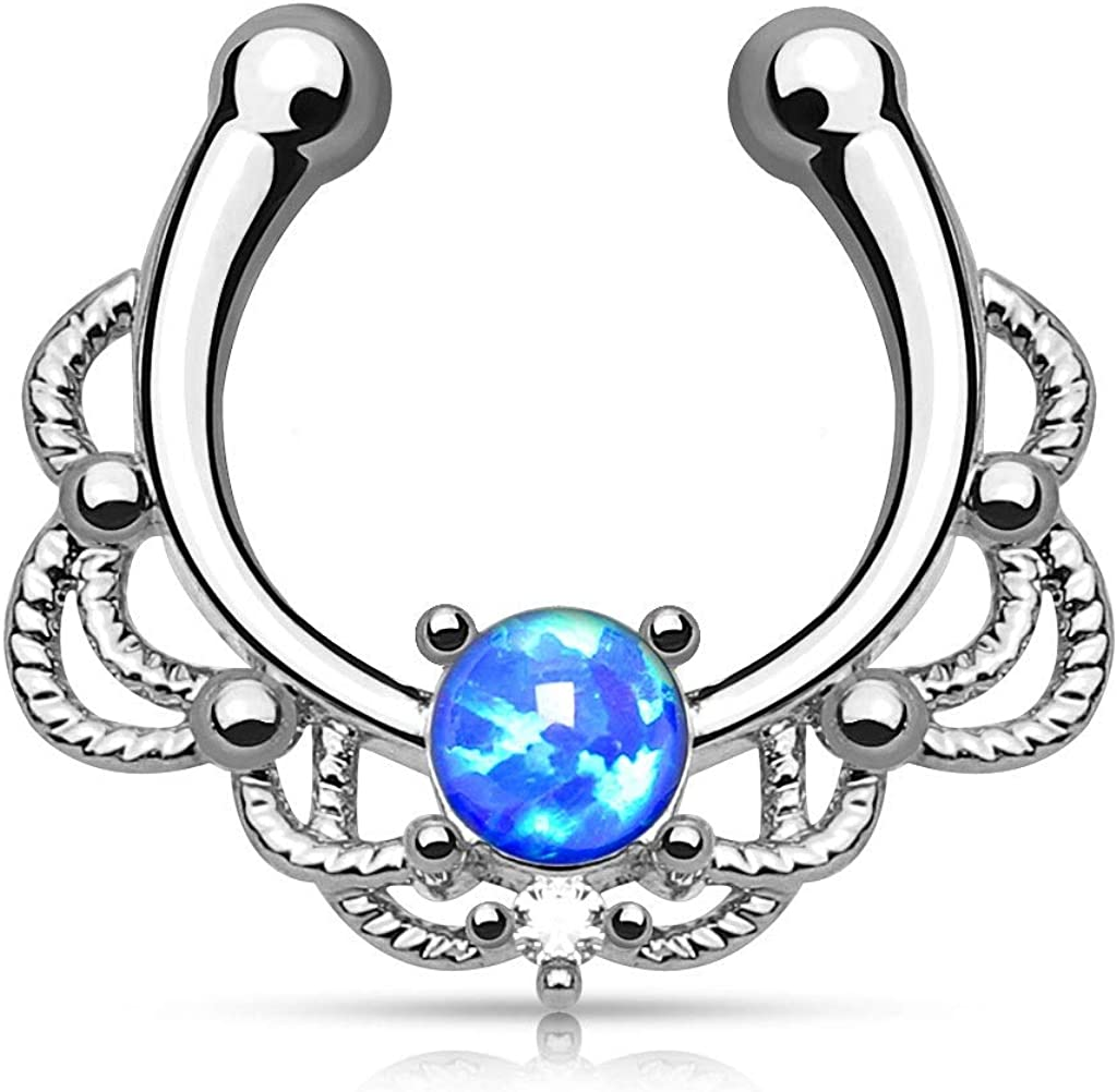 Lacey Single Opal 16g Septum Hanger Clip On Non No Piercing - Choose Blue, White, Pink or Purple Synthetic Opal