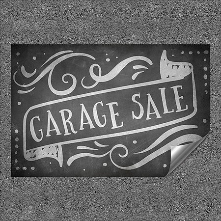 CGSignLab | ''Garage Sale -Chalk Banner'' Heavy-Duty Industrial Self-Adhesive Aluminum Wall Decal (5-Pack) | 48''x32''