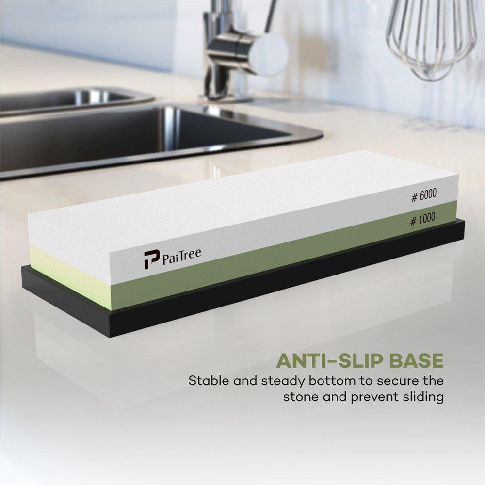 Whetstone, Premium Knife Sharpener Sharpening Stone Water Stone Kit by PaiTree, Safe Honing Holder Silicone Base Included (1000/6000 Grit) by Paitree (Image #6)
