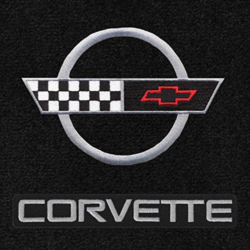 Lloyd Mats - Velourtex Black 3PC Floor Mats For Corvette Coupe 1991-96 with Silver C4 Flag and Corvette Lettering - Corvette Lettering Silver