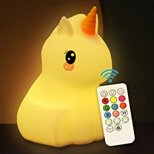 Cute Night Light for Kids Soft Silicone Baby Nursery Night Light with Remote Control Children Bed Room Décor Decoration Teenage Toddler Boys Girls Birthday Gift (Unicorn)