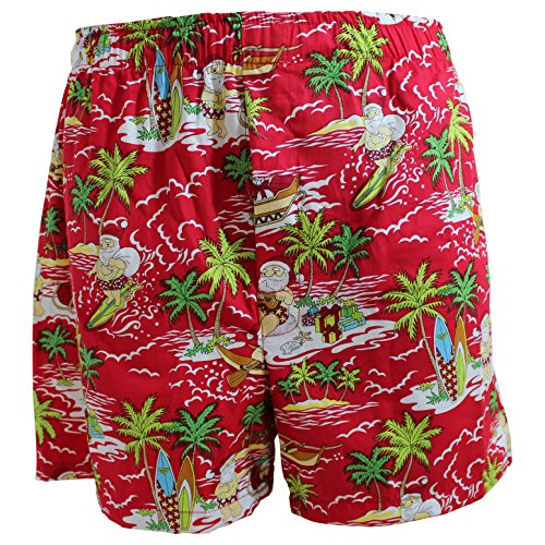 Winnie Fashion Surfin Santa Hawaiian Boxer Shorts; Made in Hawaii (L: 36-38 inch)