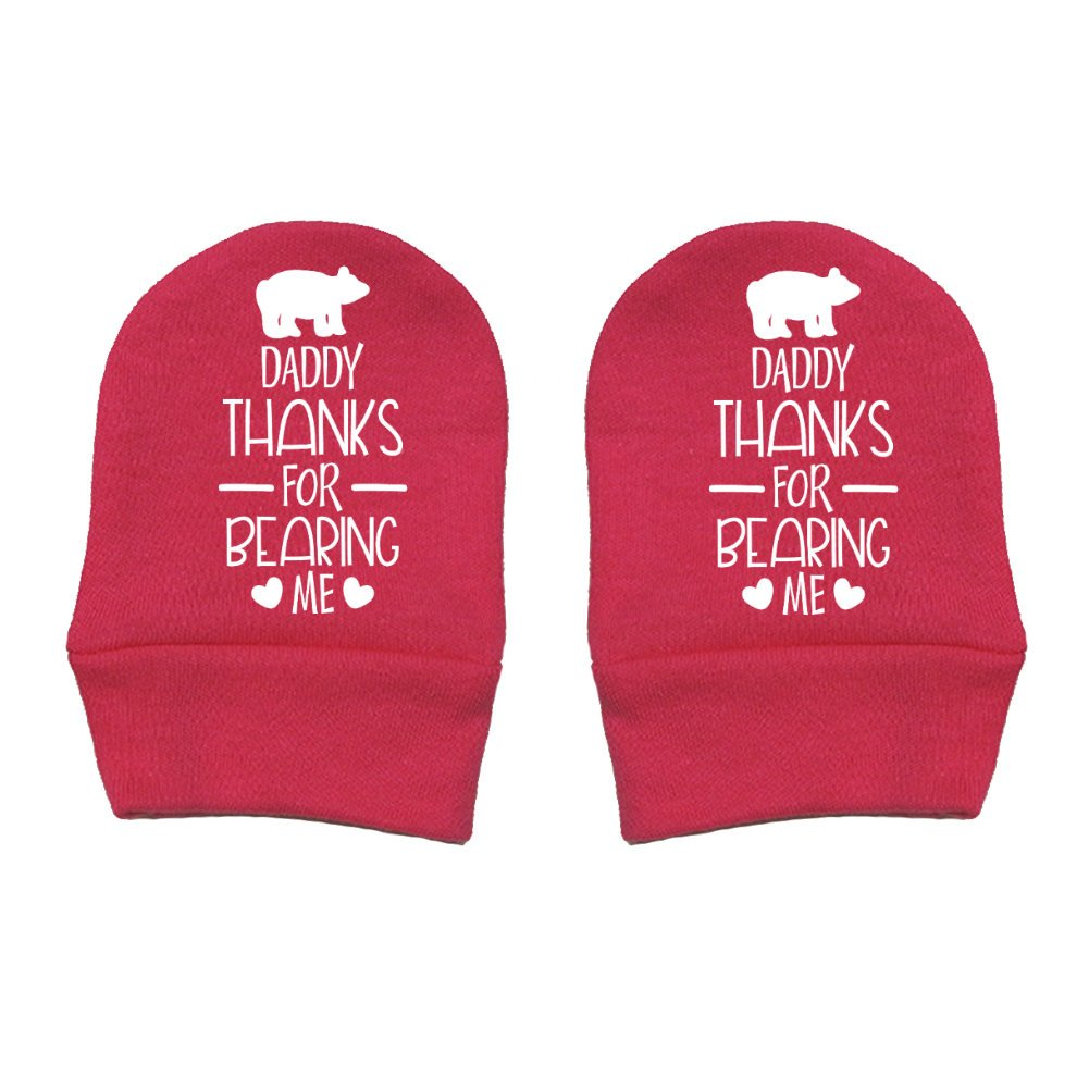 Mashed Clothing Daddy Gift Fathers Day Daddy Thanks For Bearing Me Thick Premium Thick /& Soft Baby Mittens