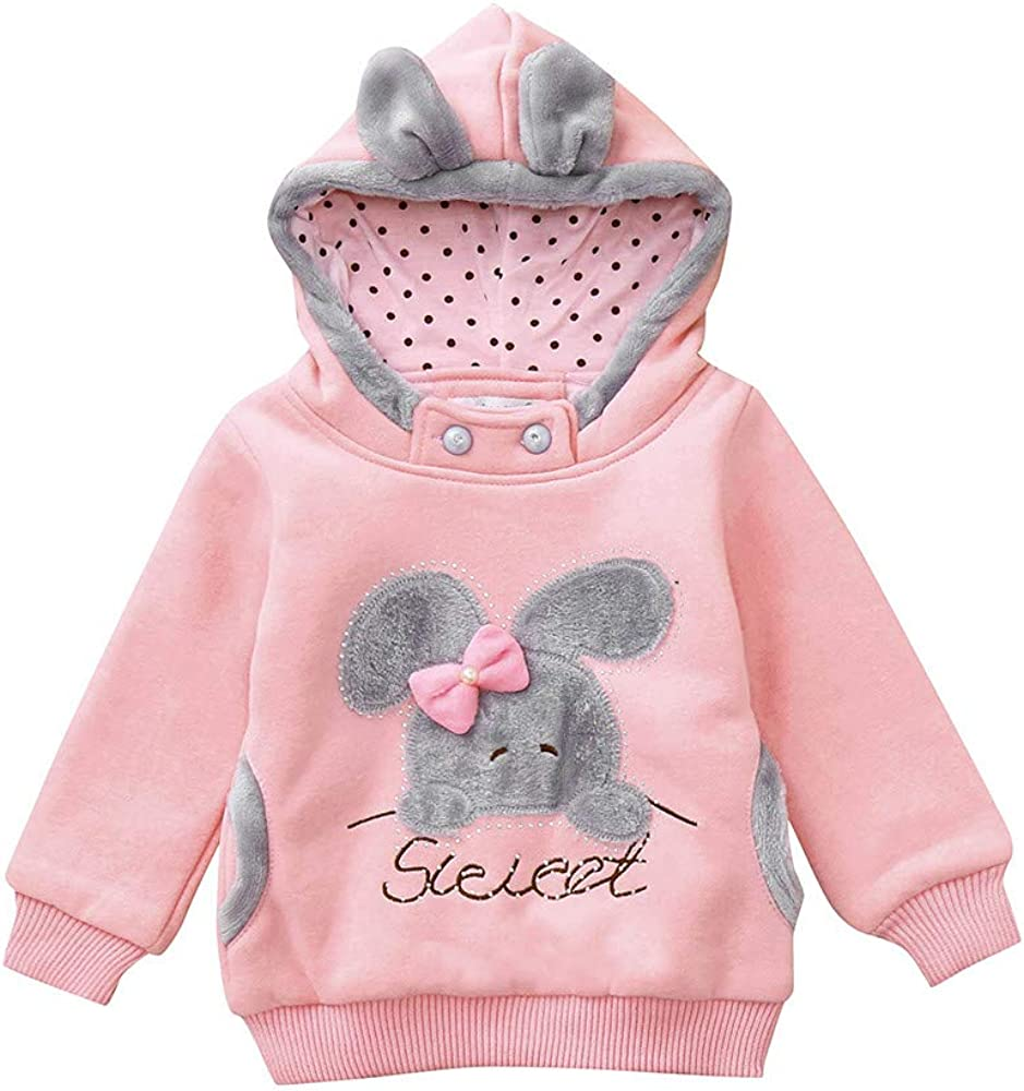 Baby Kid Tops Outfits,Fineser Cute Toddler Kids Baby Girls Boys Long Sleeve Cartoon Rabbit Ear Bow Hooded Sweatshirt Tops