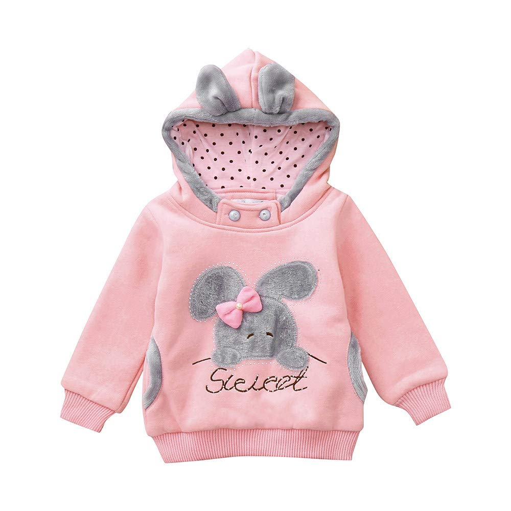 Baby Clothes Rabbit Ears Pattern Hoodies Long Sleeve Pullover Tops for Toddler Girl with Kangaroo Pocket (5 Years/ 125-130CM, Pink)