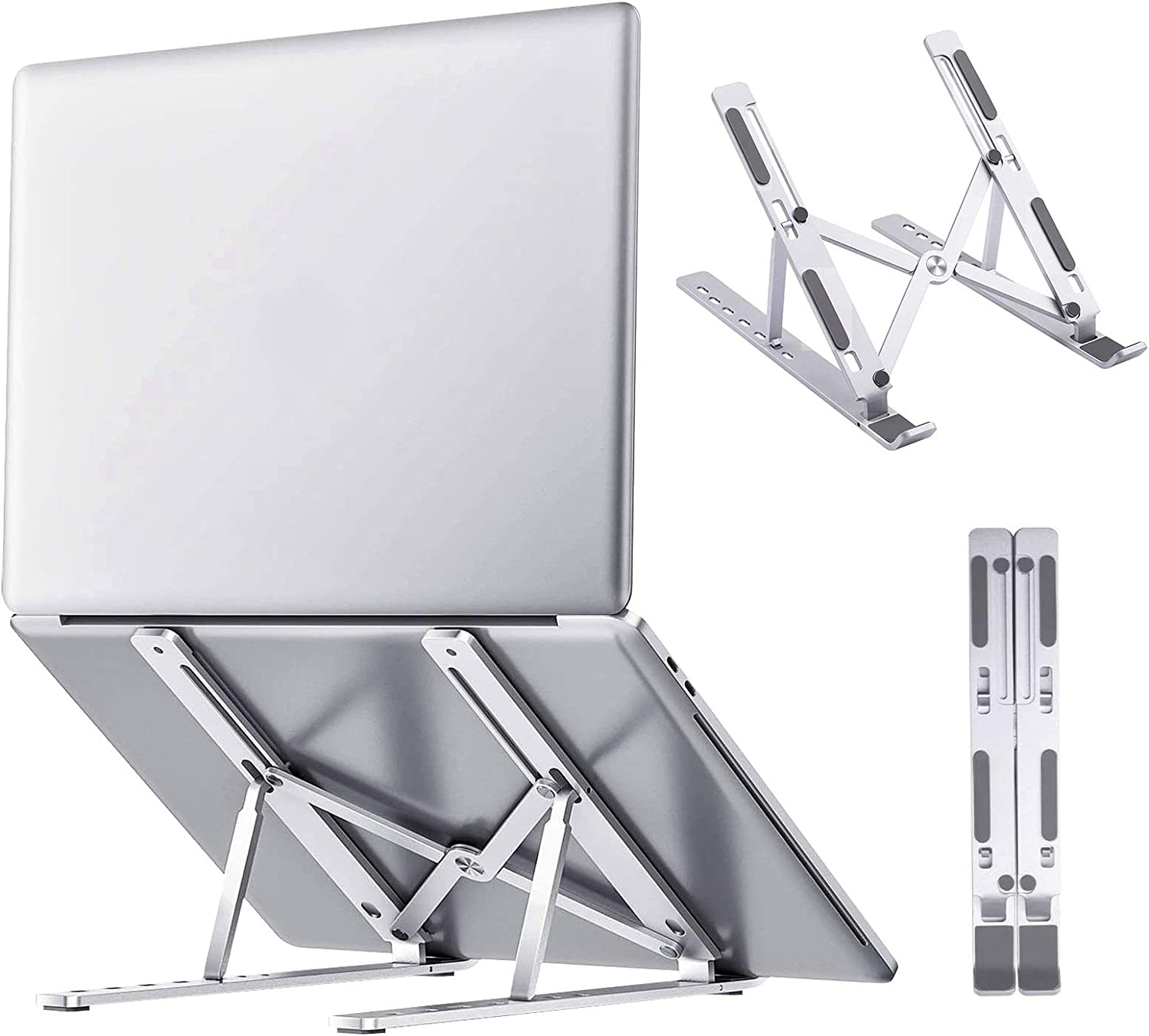 Laptop Stand, Adjustable Laptop Riser Stand for Desk, Portable Foldable Aluminum Laptop Stand Holder Cradle, Compatible with MacBook Pro/Air, iPad, HP, Dell, Lenovo (Up to 15.6