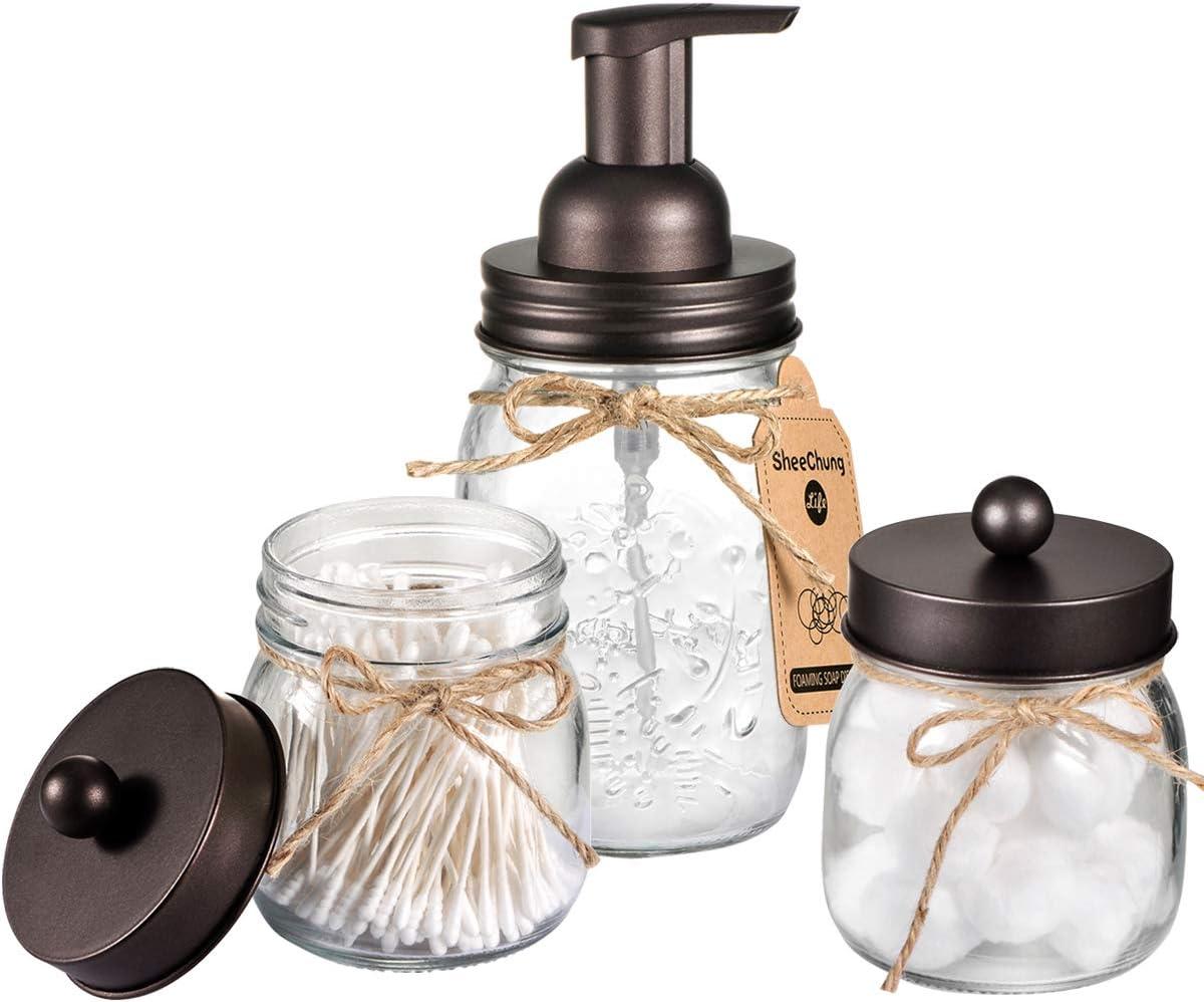 Amazon Com Mason Jar Bathroom Accessories Set Mason Jar Foaming Hand Soap Dispenser And Qtip Holder Set Rustic Farmhouse Decor Apothecary Jars Bathroom Countertop And Vanity Organizer Bronze Patent Pending Home