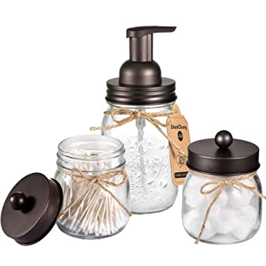 Mason Jar Bathroom Accessories Set - Includes Mason Jar Foaming Hand Soap Dispenser and Qtip Holder Set - Rustic Farmhouse Decor Apothecary Jars Bathroom Countertop and Vanity Organizer (Bronze)