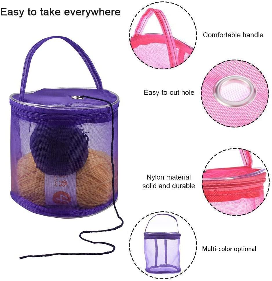 Aolvo Mesh Knitting Bag Premium Knit Tote Bag Yarn Organizer Knitting Bag Pack with Zipper Portable for Carrying Yarn Balls and Sewing Accessories