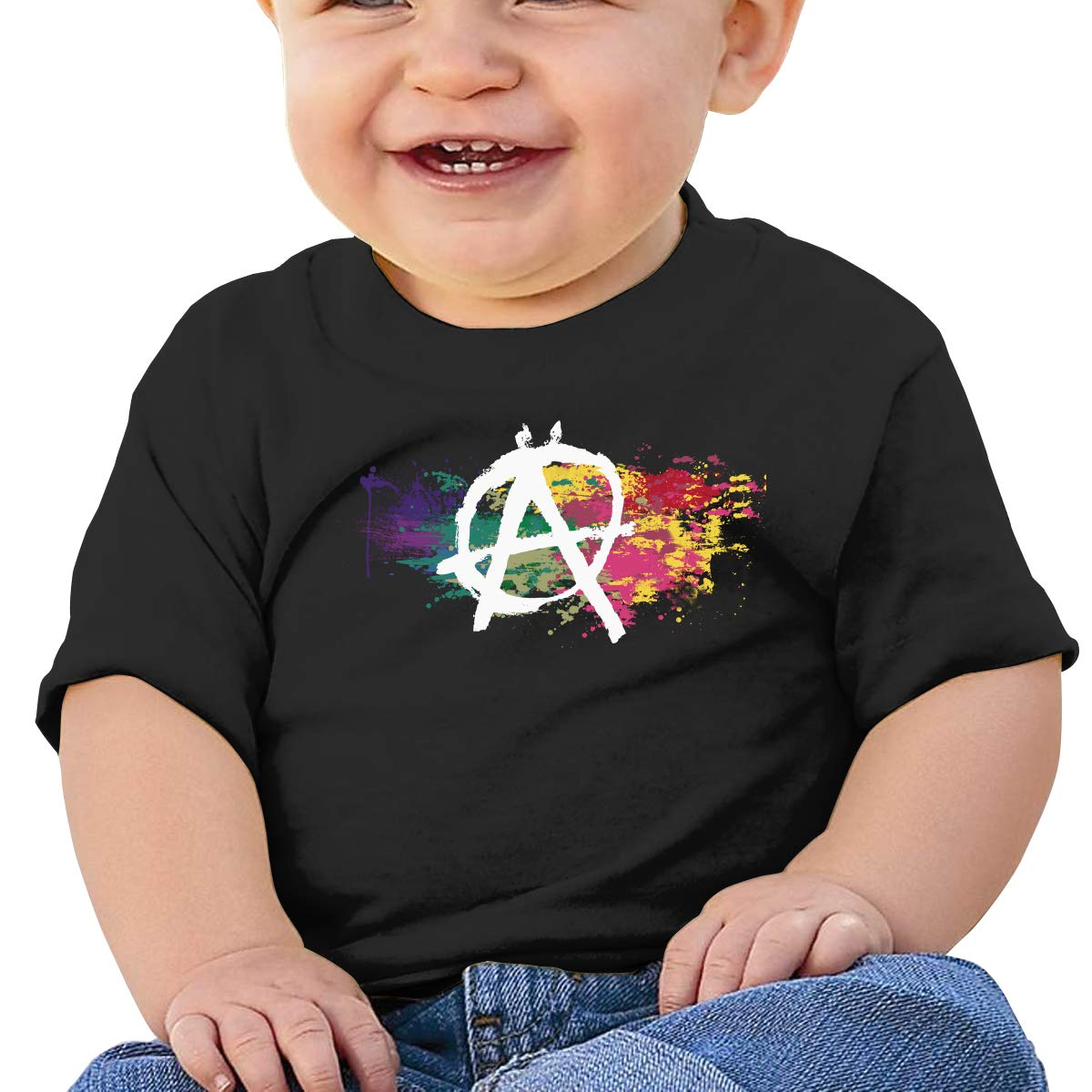 Anarchy Symbol Watercolor Rainbow Toddler Short-Sleeve Tee for Boy Girl Infant Kids T-Shirt On Newborn 6-18 Months