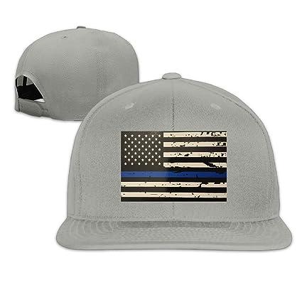 6ed439a323def3 Pin-1 Blue Thin Line Flag Hip-hop Baseball Hats Cowboy Hat Sunhat Fashion