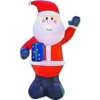 JF deco 3m la Decoración Inflable di Papá Noel de la Navidad, Santa sostiene decoraciones di Una Caja de Regalo para El Interior Y al AIRE Libera