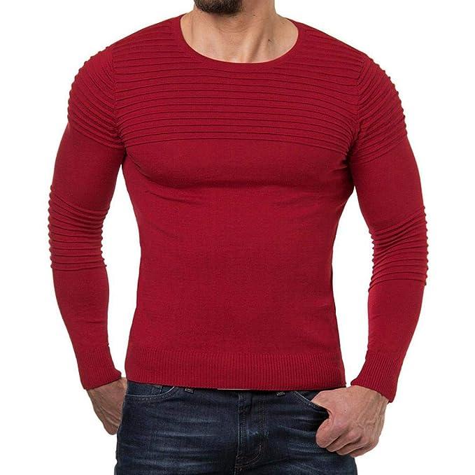 Resplend Blusa Superior de Manga Larga con Cuello en V para Hombre de otoño Invierno a