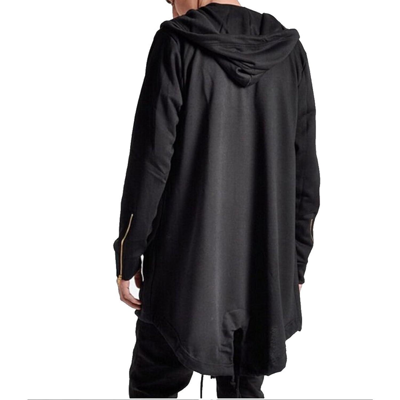Boom Fashion Men's Loose High-Low Hem Long Sleeve Hoodies Cardigan ...