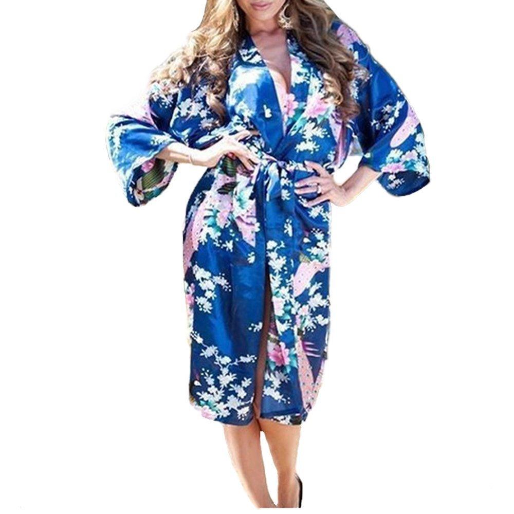 Womens Medium Length Silk Kimono Robes, Sizes 2 to 20, Floral Print, Medium, Jewel Blue