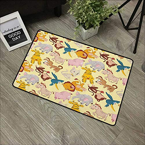 Buck Haggai Carpets Indoor/Outdoor Area Rugs Nursery,Cartoon Animals Jungle Themed Design Monkey Pig Tiger Elephant Lion Horse Sparrow, Multicolor,for Daily Use-Stylish Floor Mat -