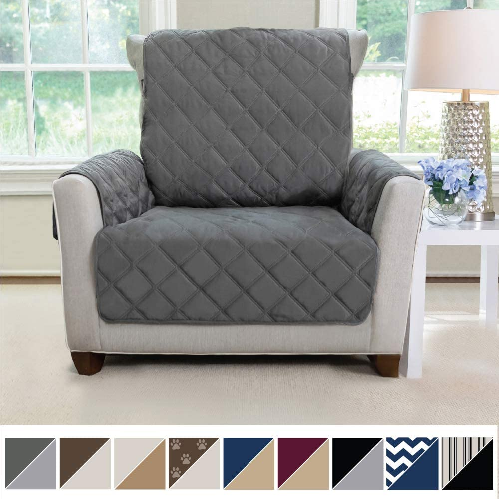 MIGHTY MONKEY Premium Reversible Chair Slipcover, Seat Width to 23 Inch Furniture Protector, 2 Inch Elastic Strap, Washable Armchair Slip Cover for Kids, Dogs, Cats, Chair, Charcoal Light Gray