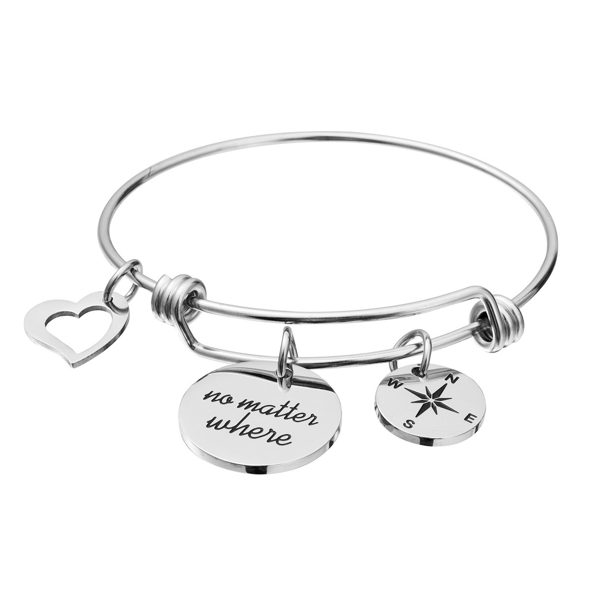 omodofo Friend Charm Bracelet Stainless Steel Adjustable Bangle Long Distance Friendship Gifts BFF Bracelet Jewelry for Girls