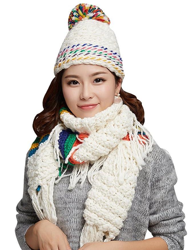 1Set Women Scarf Hats 2016 Fashion Warm Winter Woolen Knit Hood Shawl Caps Suit