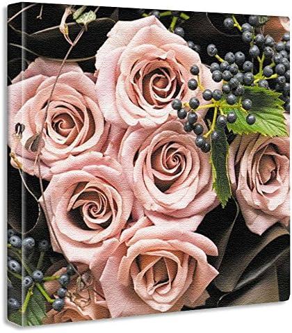 花 バラ アートパネル 15cm × 15cm Sサイズ 日本製 ポスター おしゃれ インテリア 模様替え リビング 内装 植物 アンティーク 自然 ファブリックパネル yt-300-pink-026-S