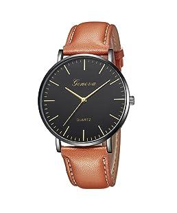 Zarupeng Geneva Fashion Simple Watch Womens Leisure Analog Leather Quartz Wrist Watches (E)