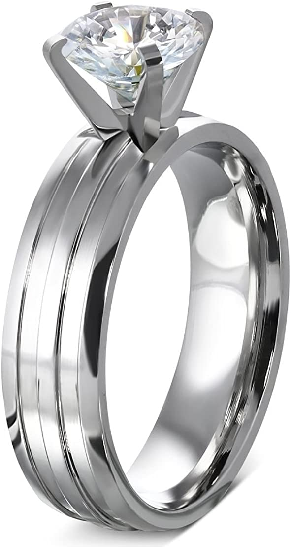 Stainless Steel Prong-Set Round Grooved Shank Comfort Fit Engagement Ring with Clear CZ